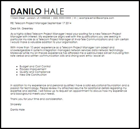 Project Manager Resume Cover Letter Exles by Telecom Project Manager Cover Letter Sle Livecareer