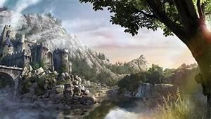 Wallpaper, 3000x1700, Px, Artwork, Concept, Art, Fantasy, Art, Fortress, Gothic, 4, Lake, Mountain