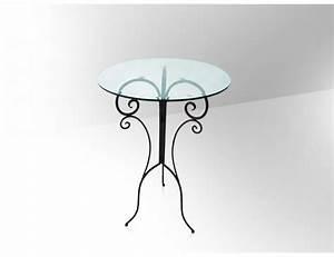 Table Haute En Verre : la m tallerie table haute de bar en fer forg plateau en verre ~ Teatrodelosmanantiales.com Idées de Décoration
