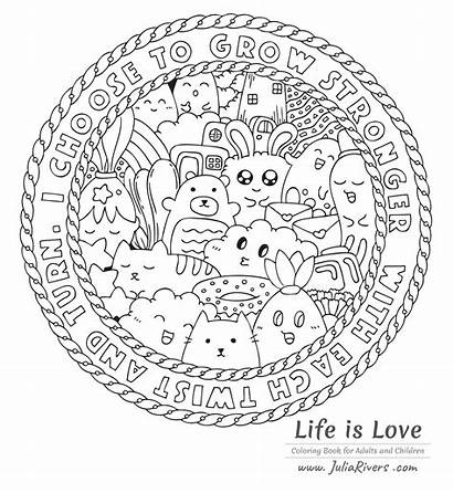 Coloring Kawaii Pusheen Doodle Pages Adult Colouring