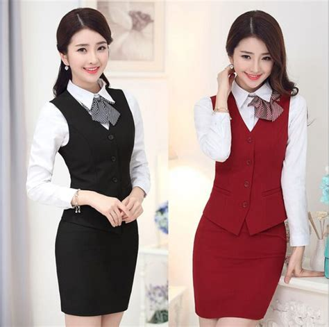 hotel front desk uniforms ladies vest skirt fashion hotel reception uniform hotel