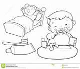 Boy Teeth Wakeup Brush Coloring Leuk Cartoon Wake Lijnart Basin Children Bed sketch template