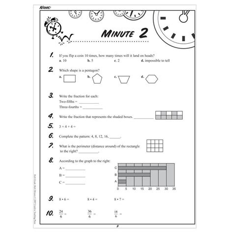 4th grade math minute worksheets 6th grade math minute worksheets day 62 6th best free