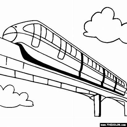 Coloring Pages Train Monorail Drawing Trains Coloriage