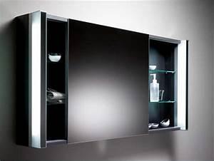 Bad Spiegelschrank Mit Licht : spiegelschrank bad schwarz mit schiebet r inklusive glasablage und led beleuchtung ~ Bigdaddyawards.com Haus und Dekorationen
