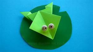 Basteln Mit Papier Anleitung : origami frosch falten mit papier einfache tiere baste doovi ~ Frokenaadalensverden.com Haus und Dekorationen