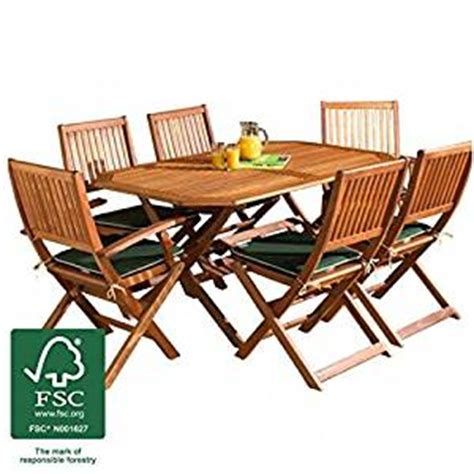 wooden garden furniture set 6 seat folding patio table