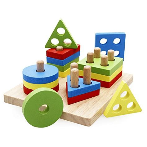 rolimate wooden educational preschool shape color 748 | Rolimate Wooden Educational Preschool Shape Color Recognition Geometric Board Block Stack Sort Chunky Puzzle Toys Birthday gifts toy for age 2 3 4 Years Old and Up Kid Children Baby Toddler Boy Girl 0