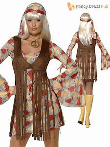 Ladies 1960s 1970s Hippy Fancy Dress Costume Hippie Flower ...