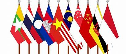 Asean Member Flags Foreign States Single Strategic
