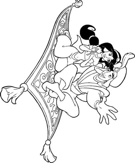 coloriage aladdin  jasmine sur le tapis volant dessin