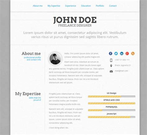 Free Responsive Html Resume Template by Top 40 Professional Cv Resume Templates Web Development Tutorials And Resources