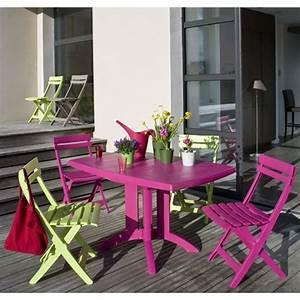 Salon De Jardin Miami : salon de jardin table vega fuchsia 4 chaises miami pliantes fuchsia et vert anis terrasse ~ Melissatoandfro.com Idées de Décoration