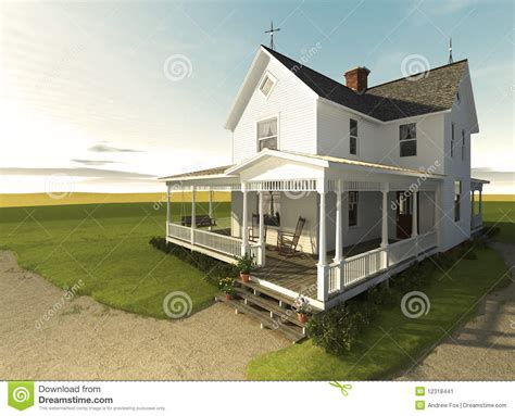 prairie farmhouse  sunrise stock illustration image