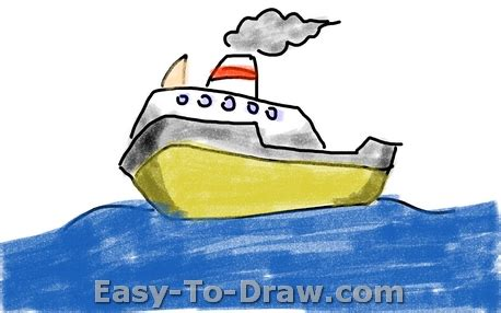 Cartoon Boat Easy To Draw by How To Draw A Cartoon Boat On The Sea For Kids 187 Easy To