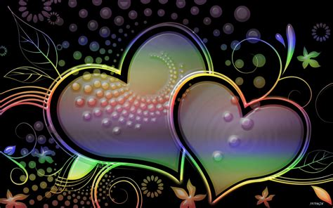 colorful hearts hd wallpaper background image