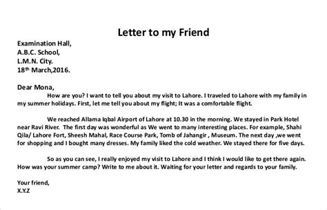 write  personal letter  examples examples