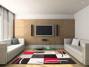 tapis design pour salon rouge sweet With tapis salon design