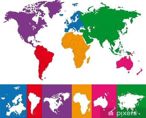 Fototapeta Barva mapa světa s kontinentu hranic • Pixers ...