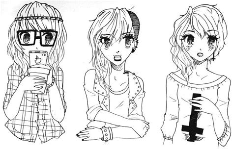 Pastel Goth Hipster Drawings Tumblr Sketch Coloring Page