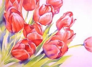 Blumen Bilder Gemalt : tulpenstrau blumen tulpen aquarellmalerei strau von thomas habermann bei kunstnet ~ Orissabook.com Haus und Dekorationen