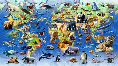 Animal Map Of The World Wallpaper - world animal day