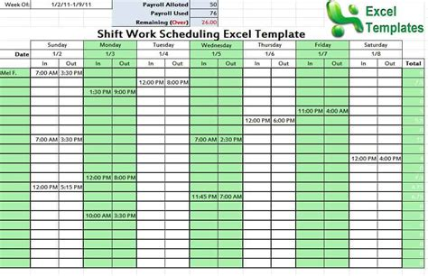 shift schedule template word excel