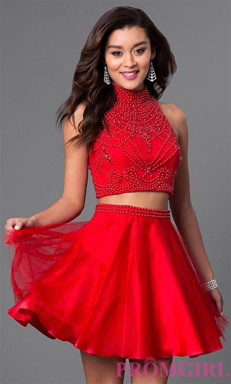 Red Two Piece Short Dress | Two piece short dress, Special ...