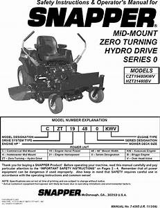 Snapper Czt19480kwv User Manual Zero Turn Mower Manuals