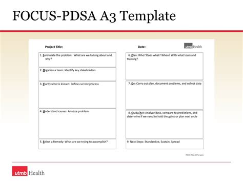 pdsa template establishing a lean thinking capability early experience ppt