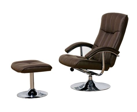 portland brown faux leather swivel chair and footstool