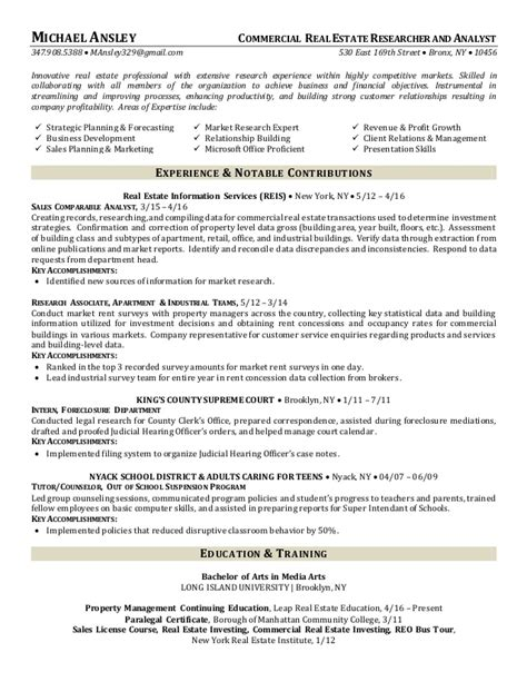real estate analyst sle resume 28 images real estate