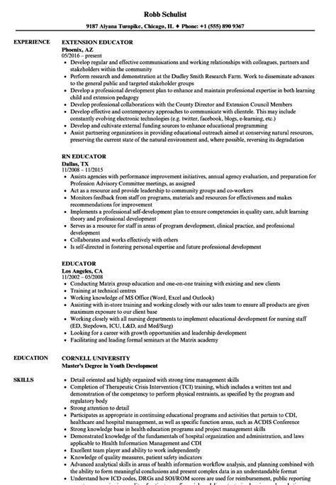 Educator Resume by Educator Resume Sles Velvet