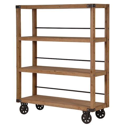 image of candle wall manhattan wood iron shelving unit on wheels