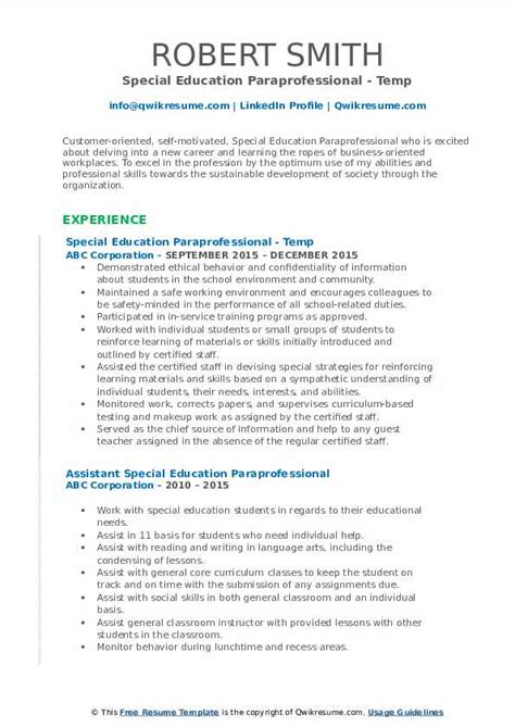 special education paraprofessional resume samples qwikresume