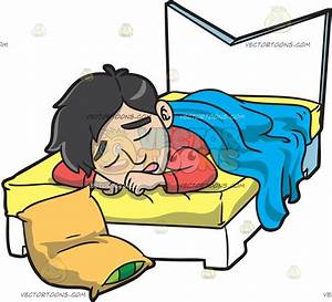 A Man Sleeping In His Bed Cartoon Clipart - Vector Toons