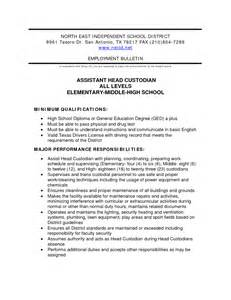 Custodian Description Resume by Custodian Description For Resume Resume Format