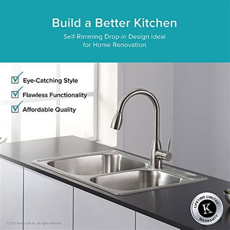 kraus kitchen sinks reviews kraus ktm32 33 inch topmount 60 40 bowl 18 6729