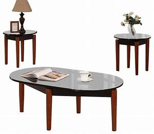 cocktail and 2 end tables speckled black cherry finish With black cherry coffee table