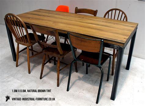 vintage industrial oak table