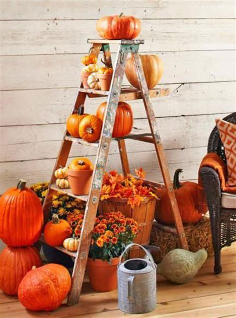 diy fall decor with old ladder HomeMydesign