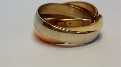 9ct trinity de cartier style ring three colour gold 4mm russian wedding band cash express