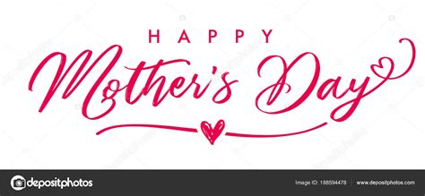 Mothers Day Background Images Happy Mother Day Elegant Calligraphy Banner Lettering Vector Text Heart Stock Vector