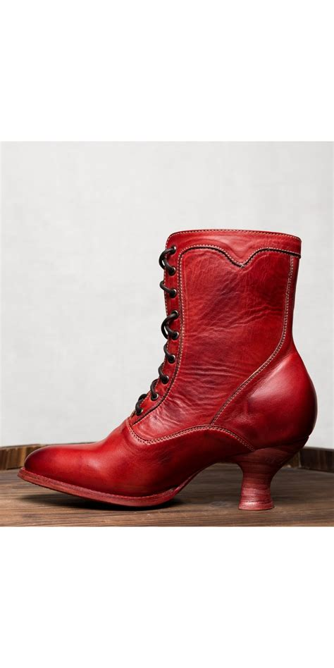 eleanor victorian style leather ankle boots  red rustic