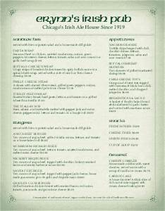 irish menu irish pub menus irish menu template With irish menu templates