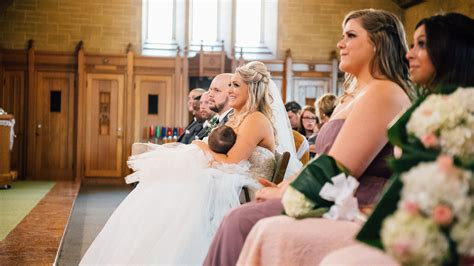 Bride Breast Feeds Crying Baby At Wedding In Touching