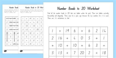 number bonds   word search  zealand maths
