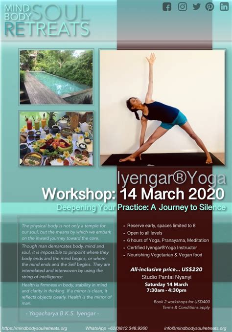 While all activities on the retreat are voluntary, you get out what you put in. Z 14 March 2020 Bali Workshop - Mind Body Soul Retreats
