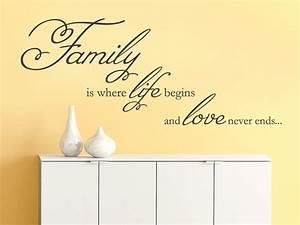 Wandtattoo Sprüche Familie : wandtattoo family is where life begins von ~ Frokenaadalensverden.com Haus und Dekorationen