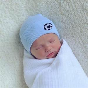 Blue Soccer Newborn Boy Hospital Hat